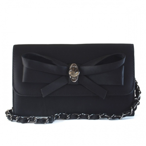 Wholesale : black matt satin clutch with jewel : black only