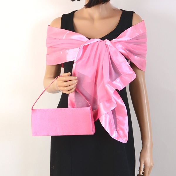 Matching wedding stole and clutch - 20 colours! Silver grey and baby pink clutches come pleated