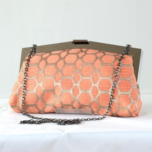 Large orange and gold wedding, evening bag