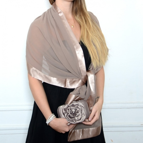 Lovely matching duo headband and stole light brown/mole