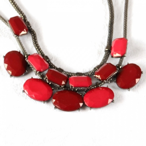 Matching red necklace an ear clips