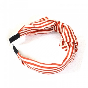 Headband with bowfly - red and white stripes