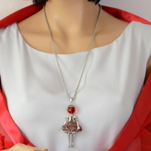 Long necklace girly - red and silver metal