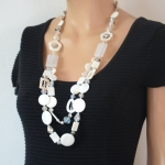 Long necklace sautoir Sixtine - grey out of stock - pink or ivory