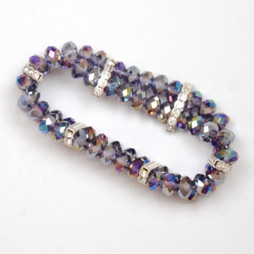 Mauve bracelet 2 rows of facetted crystal pearls
