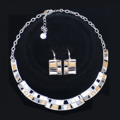"""Necklace """"Mondrian"""" - light gold and silver"""