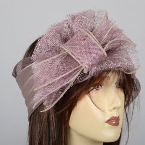 Wedding headband - sinamya and satin - fuchsia or lilac