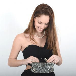 Evening bag with crystals and silvery metal