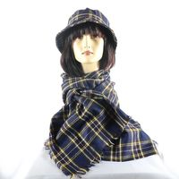 Matching duo cap and scarf - navy tartan