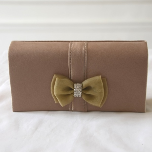 Mini evening clutch with bowtie and rhinestone - 6 colours - Silver out of stock