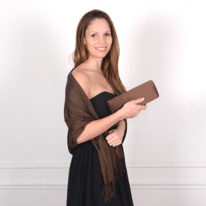 3 matching brown accessories for weddings or dressed-up evenings