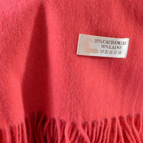 Coral woolen and cashmere stole