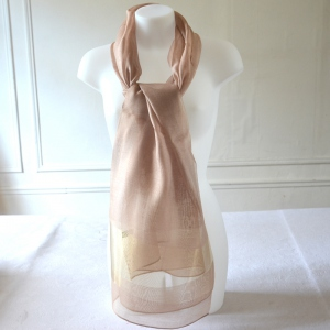 Long silk organza and viscose beige and gold foulard for weddings or evenings