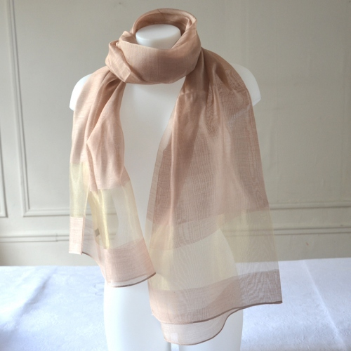 Long and large foulard with a golden stripe in 3 colours : beige, grey, or lime green/grey gold