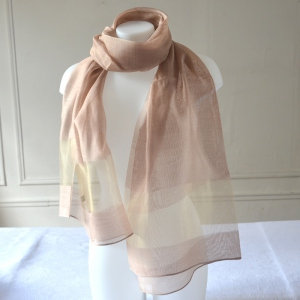 Long and large foulard with a golden stripe in 3 colours : beige, white with gold or lime green/grey silver