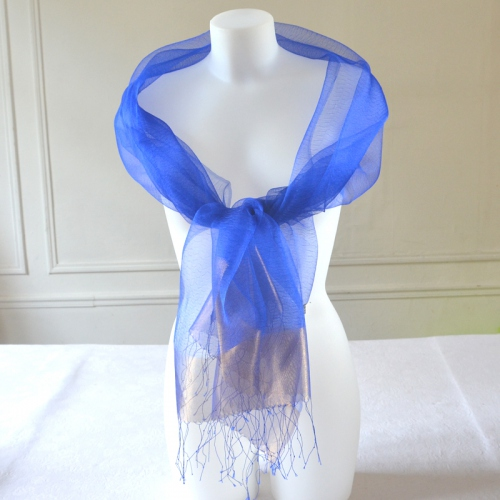 Charming silk organza wrap for weddings or evenings - red or blue