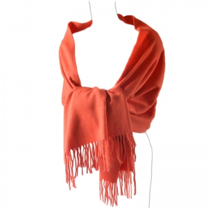 Plain cashmere and wool shawl : 2 pretty colours : coral or grey/beige