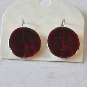 Round red earrings for pierced ears