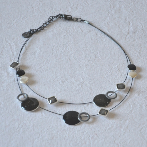 Necklace Ikita planet and stars grey, black and silver