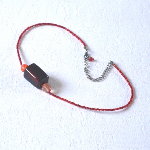 Necklace stone and beads orange red and brown or green and turquoise