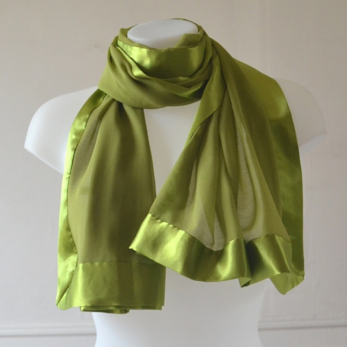 Anis green silk mousseline and satin wedding shawl