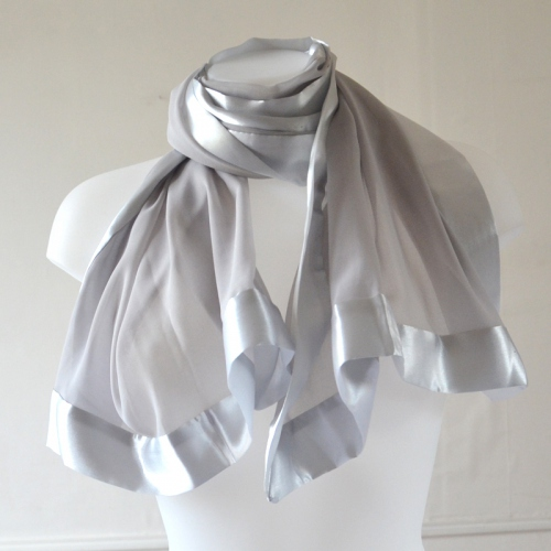 Silver grey stole/shawl in silk mousseline and satin