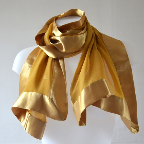 Golden wedding stole - silk mousseline and satin