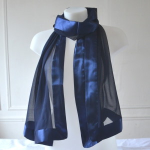 Navy blue stole/shawl silk and satin
