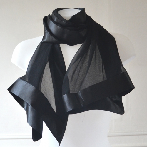 Black wedding shawl/stole in silk mousseline and satin