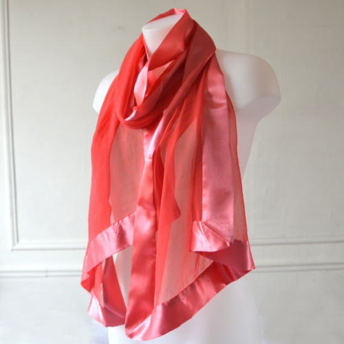 Coral pink stole/shawl silk and satin