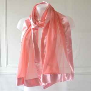 Light coral stole satin and silk