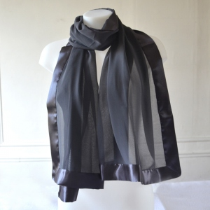 Pewter grey wedding shawl/stole in satin and silk