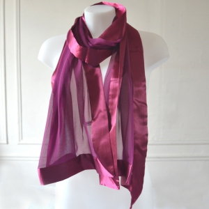 Silk mousseline and satin light plum stole