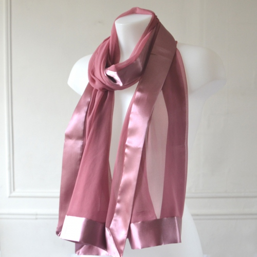 Old pink wedding/evening foulard - silk mousseline and satin