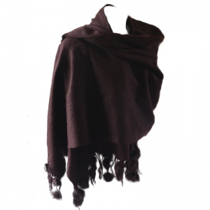 Large woolen and cashmere shawl with rabbit pompoms - dark brown only