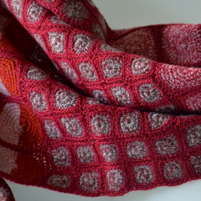 "Large pink scarf Sophie Digard creations, hand crocheted, ""Tangerine dreams"""