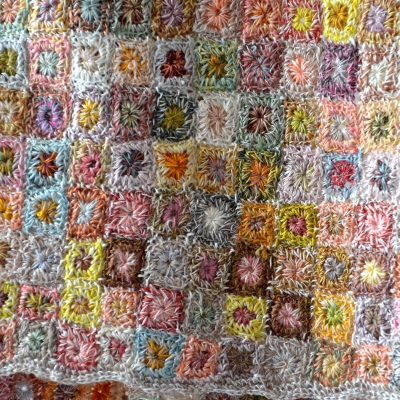 """Large linen hand crocheted Sophie Digard scarf """"carrés lilliput"""""""