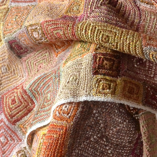 Large hand-crocheted linen shawl by Sophie Digard - autumnal soft hues