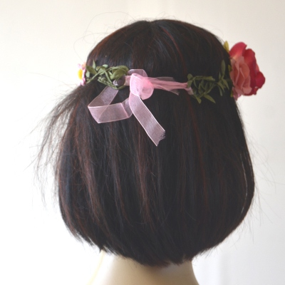 Pink flowers crown for wedding, fêtes, evenings, hand made