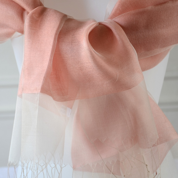 Coral silk organza and viscose wedding/evening stole