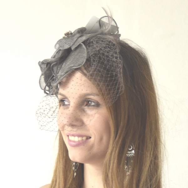 Headband sinamay and veil dark grey