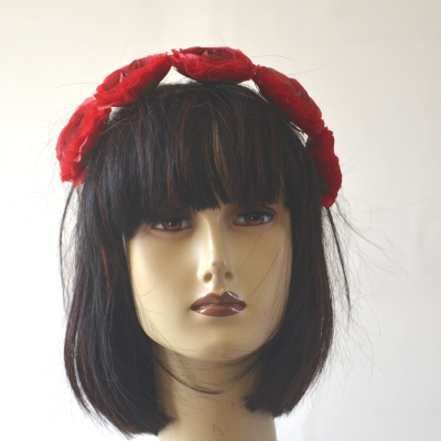Headband with red buttercups