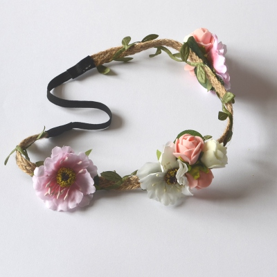 Wedding headband/crown with pink and off-white flowers