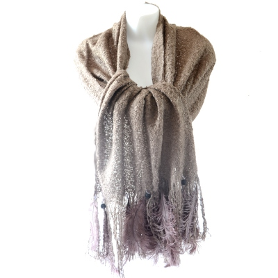 Large viscose, oistrich feathers and jewels shawl - 3 colours - Pink stole out of stock