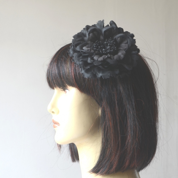Black fabric flower on hair clip AND brooch
