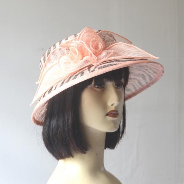 Small-brimmed pink wedding hat