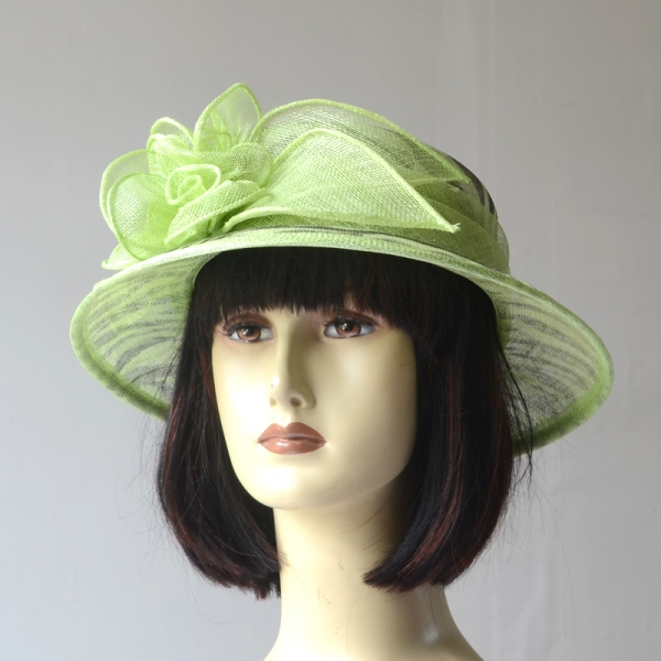 Green wedding small-brimmed hat