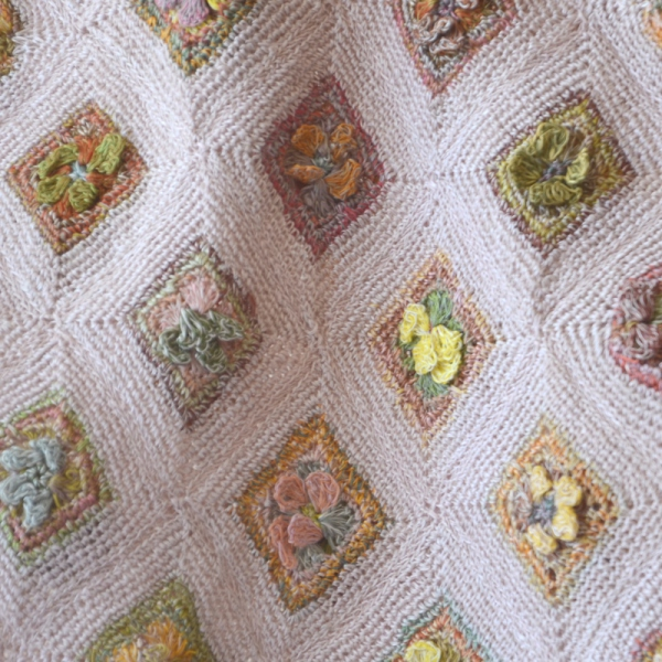 """Sophie Digard Creations - small light pink linen scarf - """"Sealife in green"""""""