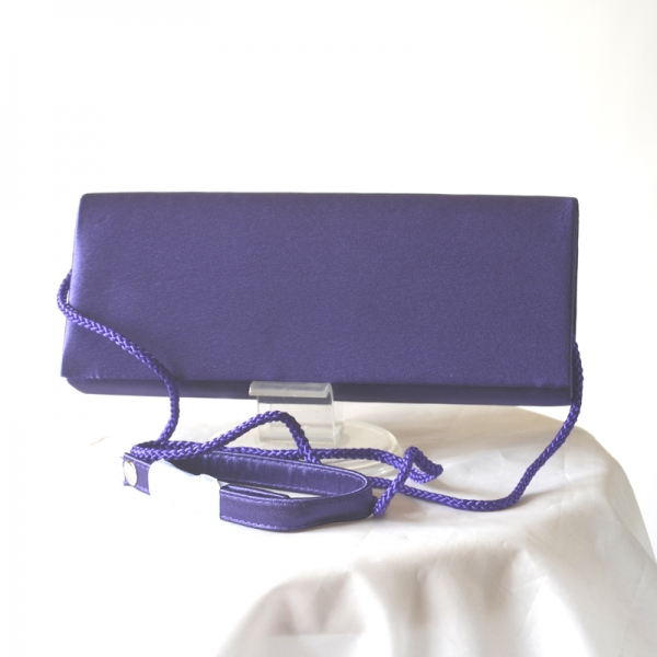 Wedding, evening satin clutch dark lilac