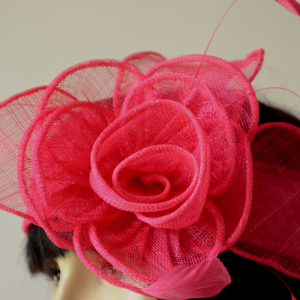 Fushia sinamay headband with flower